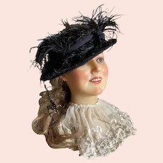 Bella Bordello Antique Victorian Hat Black Lace Sequins Feathers Wire Frame