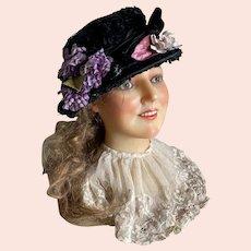 Bella Bordello Antique Victorian Hat Black Silk Chenille Lavender Millinery Pink Leaves