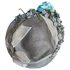 Bella Bordello Vintage Gray Silver Hat With Millinery Flowers Blue Velvet Rose Ribbon Bow Veil
