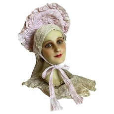Shabby Chic Vintage Young Girls Theater costume Hat Bonnet Pink Ruched Fabric Mary Pickford Style Wire Frame