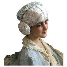 Bella Bordello Vintage Mid Century Hat Fascinator Woven Pale Blue Ribbon Sequins