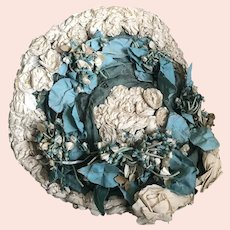 Bella Bordello INCREDIBLE Antique Hat Blue White Millinery Flowers Cabbage Roses With Label