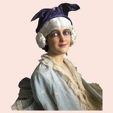 Bella Bordello RARE Antique Hat With Ears Timeworn Velvet Lavender Purple