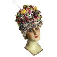 AMAZING Vintage Headdress Chenille Pom Poms Paper Millinery Flowers Mercury Glass Beads Showgirl Burlesque Costume