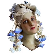 Stunning Vintage Style Headdress Blue Petunia Flowers Gold Tulle Lace Bow Millinery Antique Silk