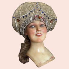 Bella Bordello RARE Antique Theater Showgirl Costume Headdress Gold Metallic Lame Lace Encrusted Rhinestones Pink Glass Jewels Faux Pearls