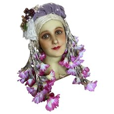 Stunning Vintage Style Headdress Pink Petunia Flowers Tulle Lace Bow Glass Grapes Millinery Antique Silk