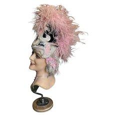Bella Bordello Vintage Showgirl Burlesque Costume Headdress Pink Ostrich Feathers Satin Sequins Silver metallic Lame Trim