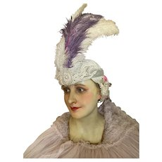 Antique 1920's Flapper Showgirl Headdress Silver Lame Glass Rhinestones Beads Purple White Ostrich Feathers