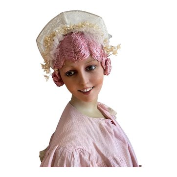 Stunning Antique French Wedding Bridal Headdress Crown Lace Frame Wax Orange Blossom Flowers