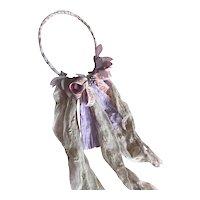 Bella Bordello Headdress With Vintage Ribbon Antique Lace Shabby Nordic Chic Costume