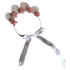Bella Bordello Costume Headdress Made With Vintage Gauze Lace Millinery Flowers Shabby Nordic Chic Ballet