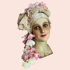 Stunning Vintage Style Headdress Pink White Petunia Flowers Tulle Lace Antique Silk Lace Accent