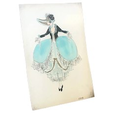 Original Vintage Costume Sketch c1920-30 Lester's Blue Gown Bonnet