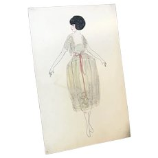 Original Vintage Costume Sketch c1920-30 Flapper Dress