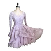 Bella Bordello Vintage 1950's Lilac Pink Lace Short Prom Dress Shabby Chic Plunging Neckline