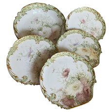 Bella Bordello STUNNING Antique Limoges 5pc Set Shell Shape Bowl Plates Pastel Chrysanthemum Flowers Gilt Border Artist SIGNED Dated 1894