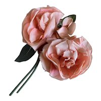 Bella Bordello Collection 2 Vintage Millinery Roses Flowers Peachy Pink