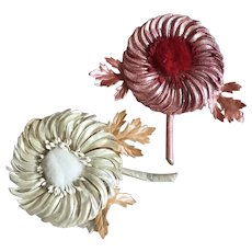 Bella Bordello Pair Vintage Paper Millinery Flowers With Stamen Iridescent Red White Pearl