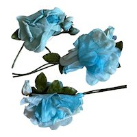 Bella Bordello Vintage Millinery Collection Shabby Chic Flowers Roses Blue Velvet
