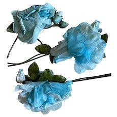 Bella Bordello Vintage Millinery Collection Shabby Chic Flowers Roses Blue Velvet
