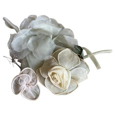 Bella Bordello Vintage Millinery Collection Shabby Chic Flowers Organdy Rose 1920s Lame Stem