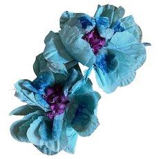 Bella Bordello Vintage 1920's Flapper Era Millinery Flowers Bright Light Blue Purple
