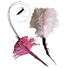 Bella Bordello Antique Victorian Hat Millinery Collection Pink Feathers Faux Pearls