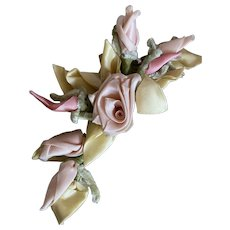 Bella Bordello Vintage Millinery Flower Spray Florists Ribbonwork Roses Buds Chenille Pink Yellow Pastel Shabby Chic