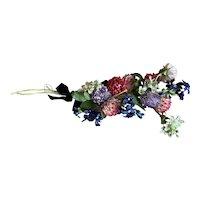 Bella Bordello Vintage Millinery Spray Corsage Pink Lavender Blue Velvet Ribbon Bow Flowers