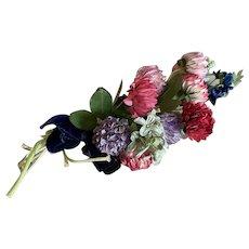 Bella Bordello Vintage Millinery Spray Flowers Pink Lavender Blue Velvet Bow