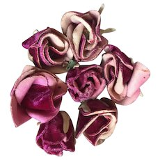 Bella Bordello Collection 7 Antique Vintage Millinery Rose Buds Maroon Pink Velvet