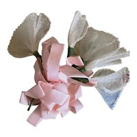 Bella Bordello Vintage Millinery Flower Gift Wrap Bow Pink Ribbon Mesh Bells Shabby Chic