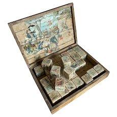 Bella Bordello Antique Victorian Timeworn Nursery Lithograph Wooden Wood Puzzle Blocks in Box