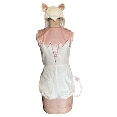 Bella Bordello Cutest Vintage Woman's 2Pc Burlesque Showgirl Dance Costume Pink White Cat Or Mouse Tail Hat