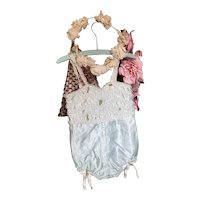 Bella Bordello Vintage Young Girls Ballet Tutu Costume Romper Pale Ice Blue Satin Ruffled Bows