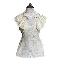 Bella Bordello Vintage 1930s Blouse Shabby Chic Pale Yellow Floral Ruffled Cap Sleeves