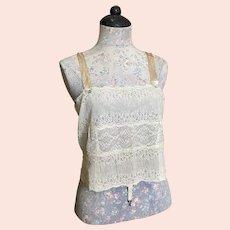 Bella Bordello Antique Edwardian GOSSARD Lace Corset Cover Camisole Silk Ribbonwork lingerie Top Garter Type Hooks