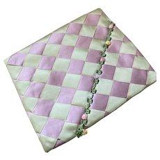 Bella Bordello Vintage Shabby Chic RIBBONWORK Ribbon Work Lavender Green Checker Hanky Delicates Linen Holder