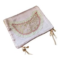 Bella Bordello Vintage Pink Ribbonwork Lace Bows Holder Pouch Shabby Chic