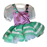 Bella Bordello Vintage Young Girls Ballet Tutu Costume Dress Purple Green Silver Ribbon Metallic Leaves Poof Sleeves