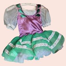 Bella Bordello Vintage Young Girls Ballet Tutu Costume Dress Purple Green Silver Ribbon Metallic Leaves Poof Sleeves