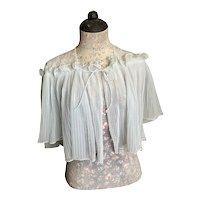 Bella Bordello Vintage Pale Blue Nylon Pleated Lace Bed Jacket Boudoir Lingerie