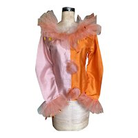Bella Bordello Vintage Pink Yellow Pierrot Clown Bodice Top Costume Tulle Lace Collar Cuffs Sequins