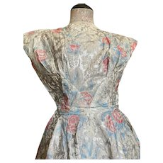 Bella Bordello AMAZING Vintage Late 40s Dress Silver Pink Roses Rockabilly