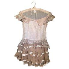 Bella Bordello Vintage Dance Costume Dress Peach Silk Scalloped Collar Lace Nordic Chic