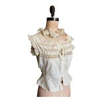 Bella Bordello Antique Late Victorian Woman's White Cotton Bobbin Lace Insert Camisole Corset Cover