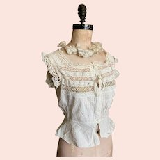 Bella Bordello Antique Late Victorian Woman's White Cotton Bobbin Lace Insert Camisole Corset Cover