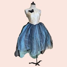 Bella Bordello Vintage Ballet Tutu Dress Costume Satin Black Tulle Blue Gauze Lace Sequin Butterfly Nordic Shabby Chic