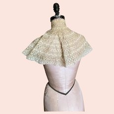 Bella Bordello Intricate Antique Victorian Ecru Valenciennes Bobbin & Saba Lace Style Caplet Shawl